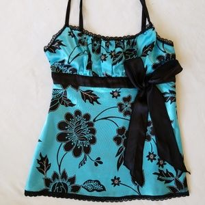 Teal Silk Babydoll top w/Blk Bow, lace M